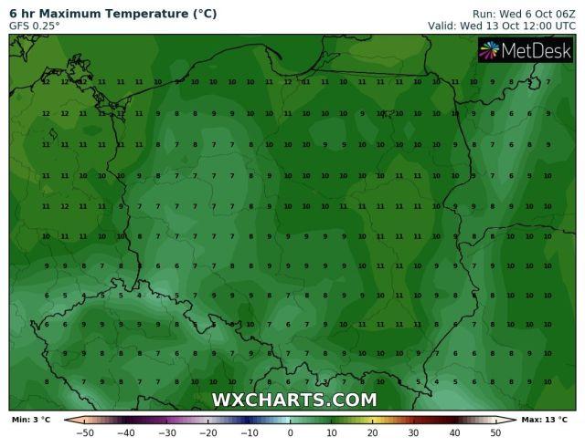 Prognozowana temperatura maksymalna w środę, 13 października 2021. Model: GFS