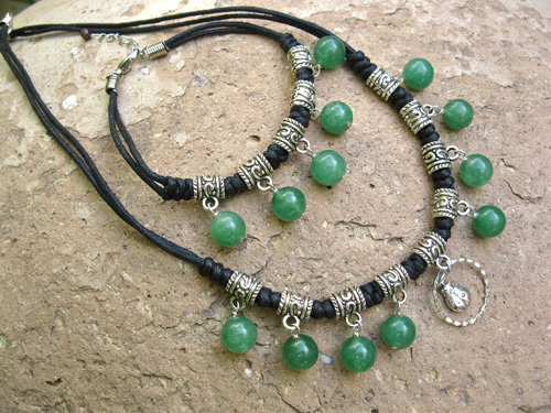 Aventurine lucky Ladybird necklace set