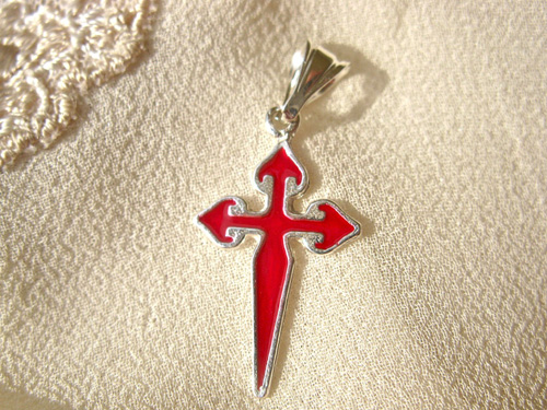 St James cross silver necklace