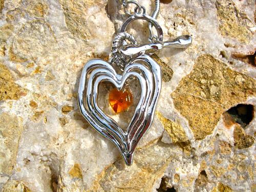 Love heart birthstone jewellery
