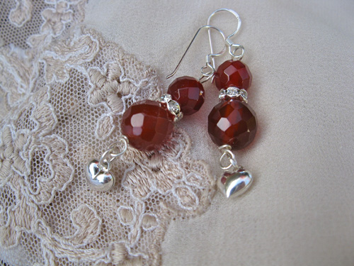 Carnelian Heart earings