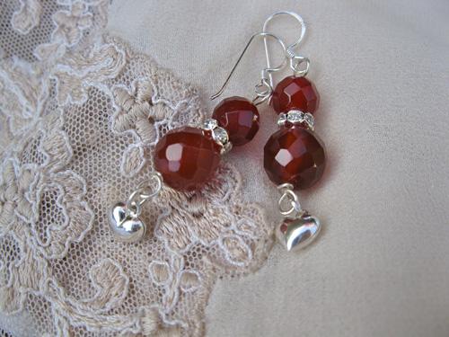 Carnelian Heart earings