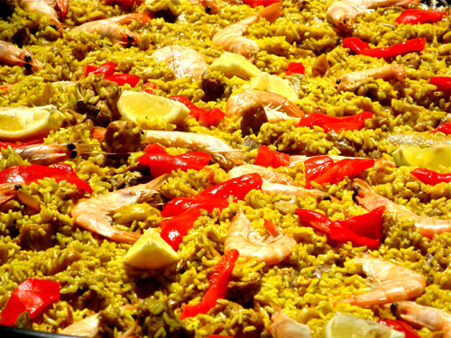 Paella appreciated with friends
