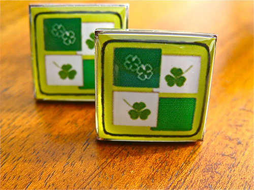 Lucky clovers cufflinks