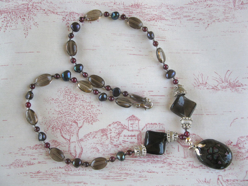 Smokey Quartz Garnet Clover necklace