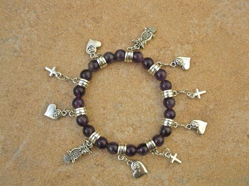 Amethyst mystical love charm bracelet