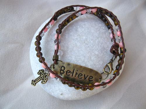 Coral Tigers Eye believe bracelet
