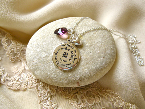 Mother charm crystal heart