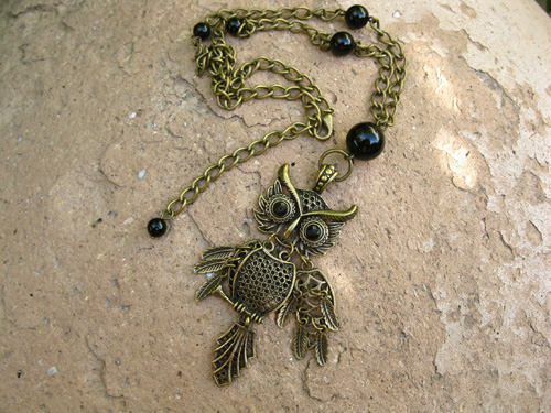 Agate Owl protection necklace