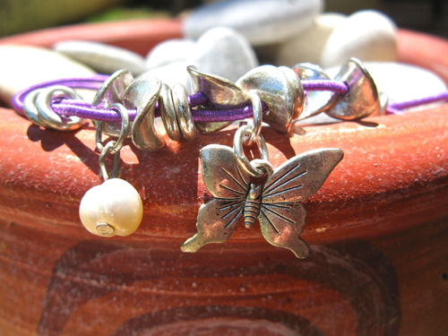 Butterfly anklet with pearl