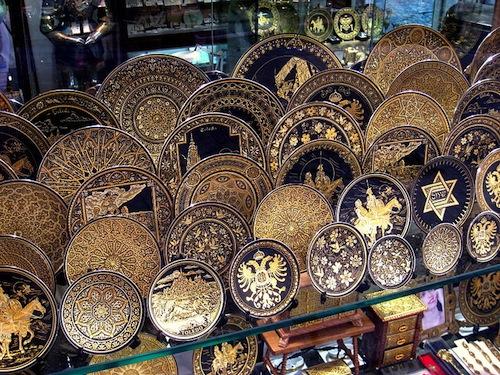 Damascene plates on display in Toledo, Spain