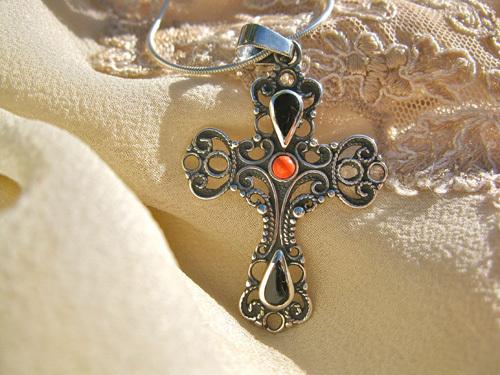 Azabache silver cross