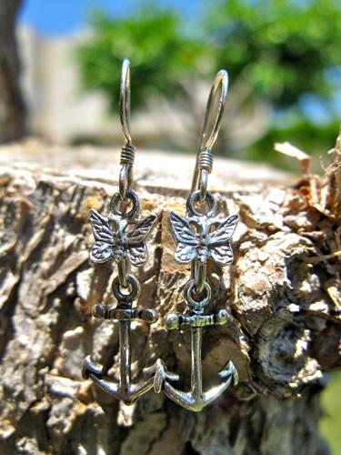 Earrings Anchor butterfly