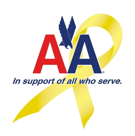 American Airlines Logo: in support of all who serve