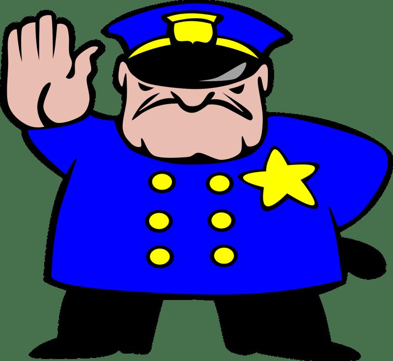 Cartoon police security officer