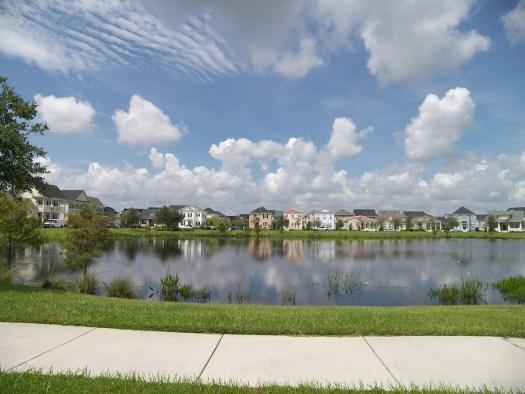 Suburban pond lake sidewalk