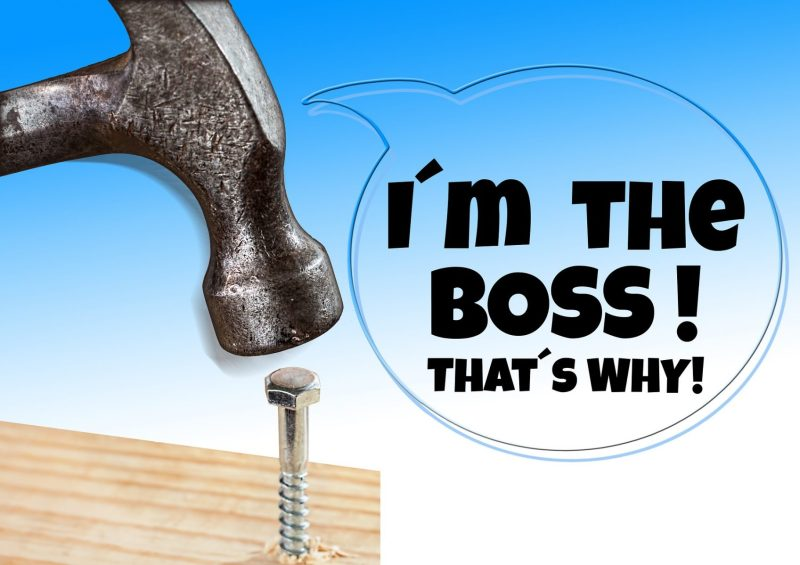Boss authority hammer and nail