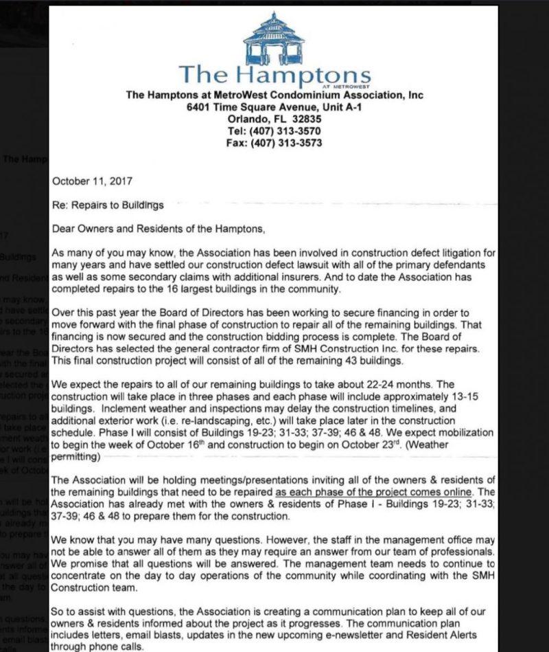 Hamptons-metrowest-construction-defect-letter