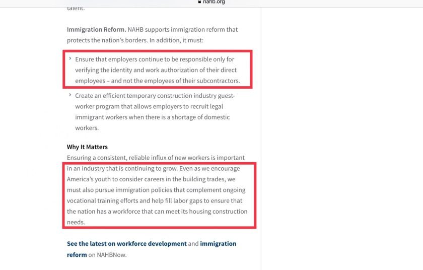 NAHB immigration work force policy training E-Verify