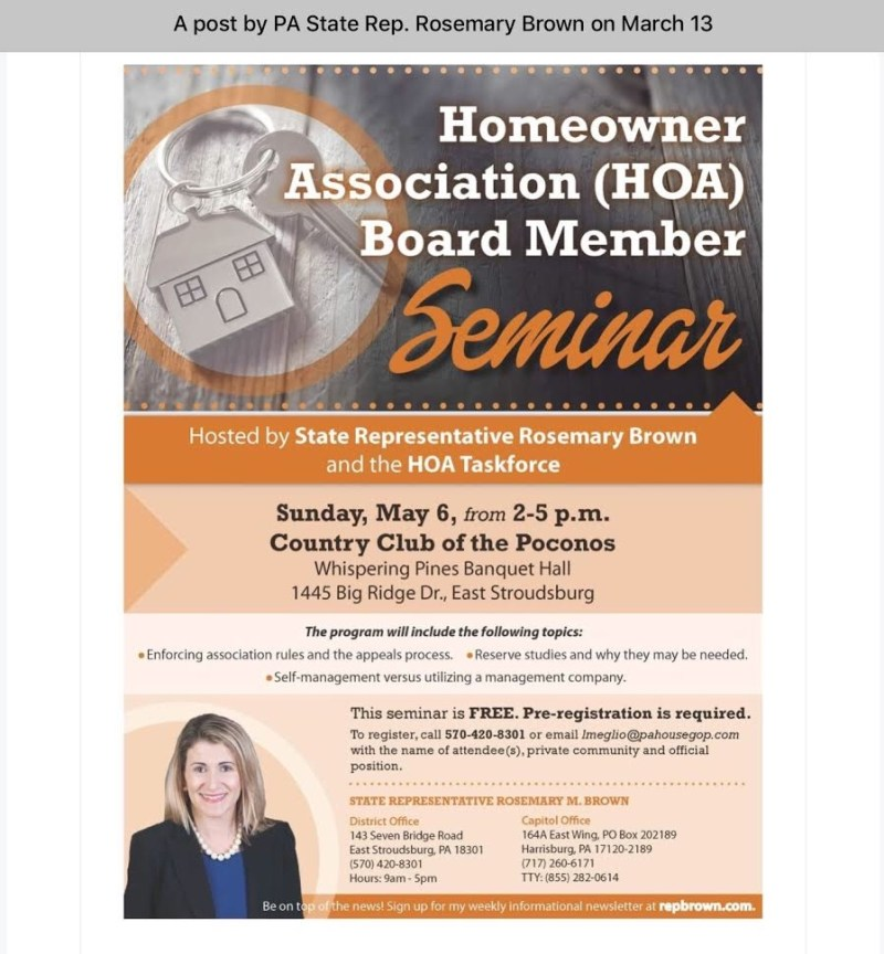 Rep Brown PA HOA board member seminar with CAI May 6, 2018