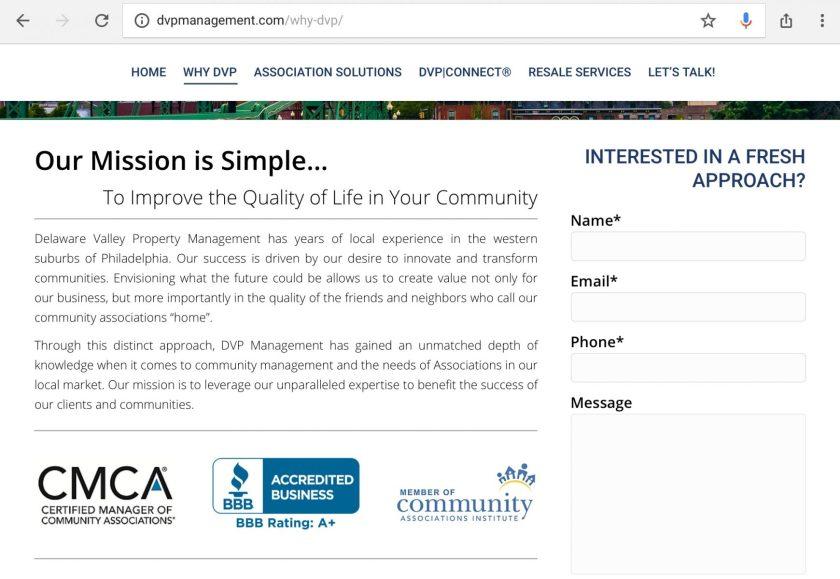 Delaware Valley Property Management website