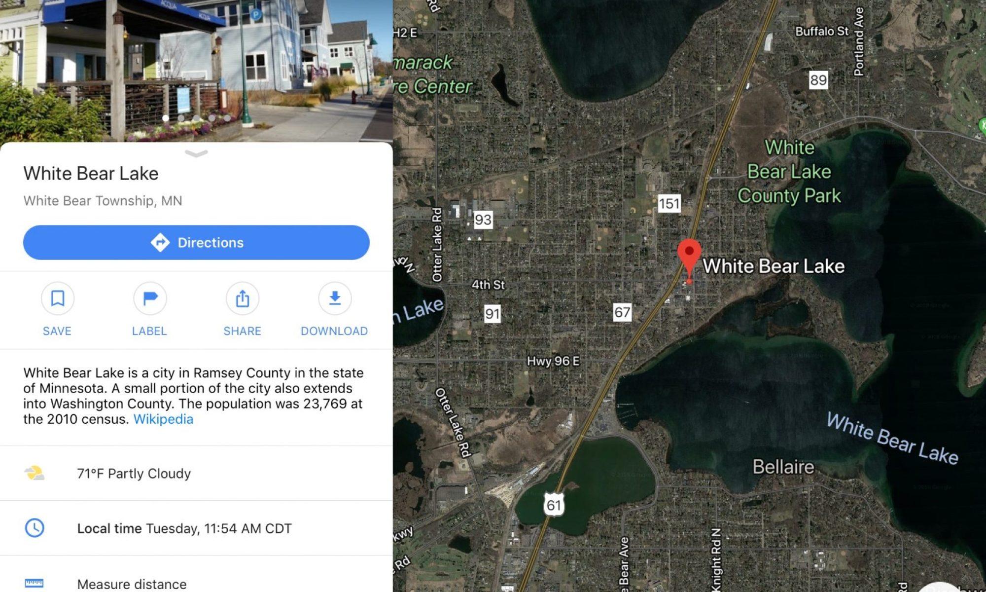 Google Maps image White Bear Lake Minnesota