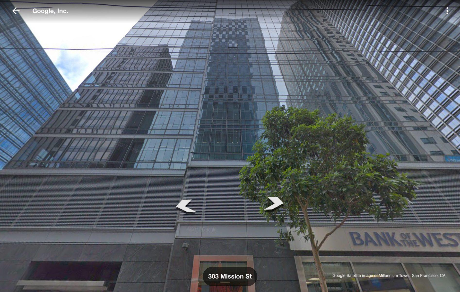Google satellite image of Millennium Tower San Francisco