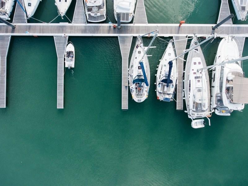 Aerial view of marina boats yachts