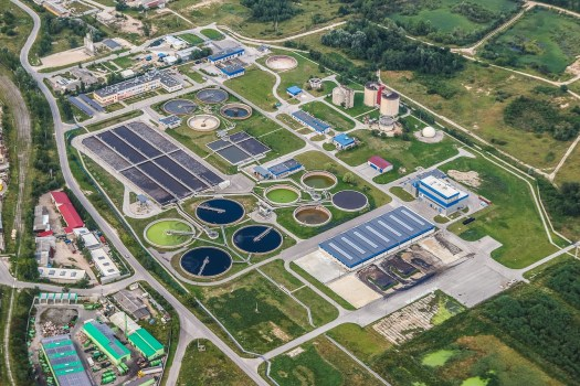 Watewater treatment plant aerail view