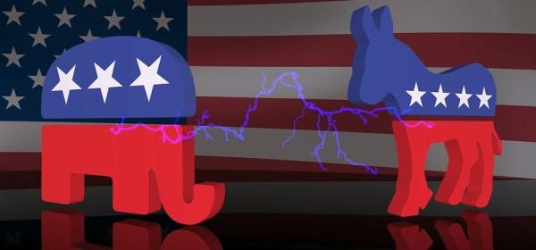 Republican vs Democrat political politics elephant donkey symbols