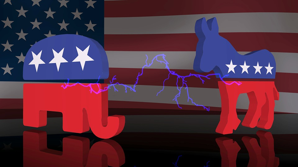 Republican vs Democrat elephant donkey symbols