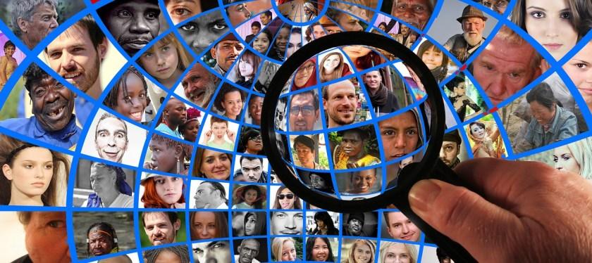 Private Investigator PI magnifying glass faces