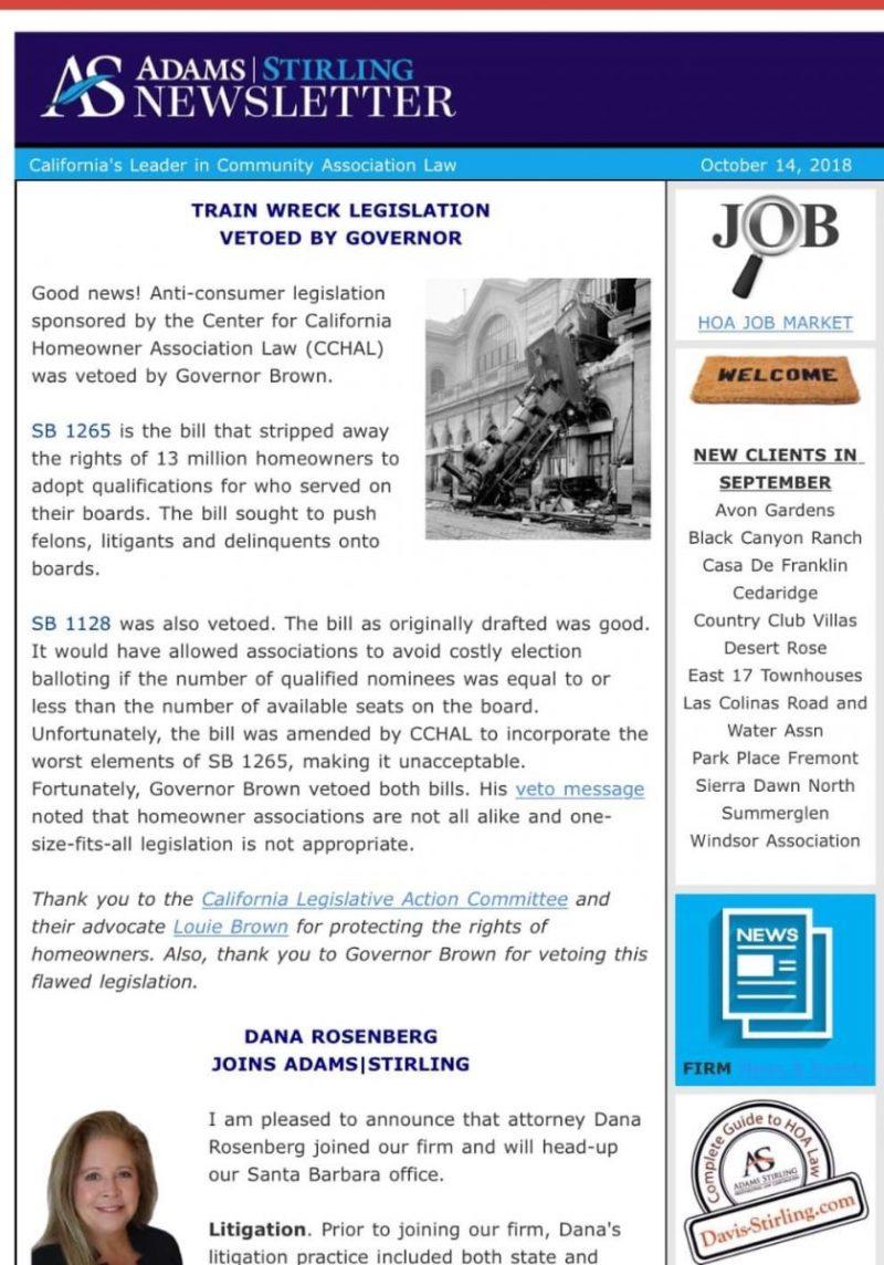 CA Attorney newsletter bashing vetoed legislation