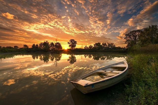 boat-lake-dam-sunset