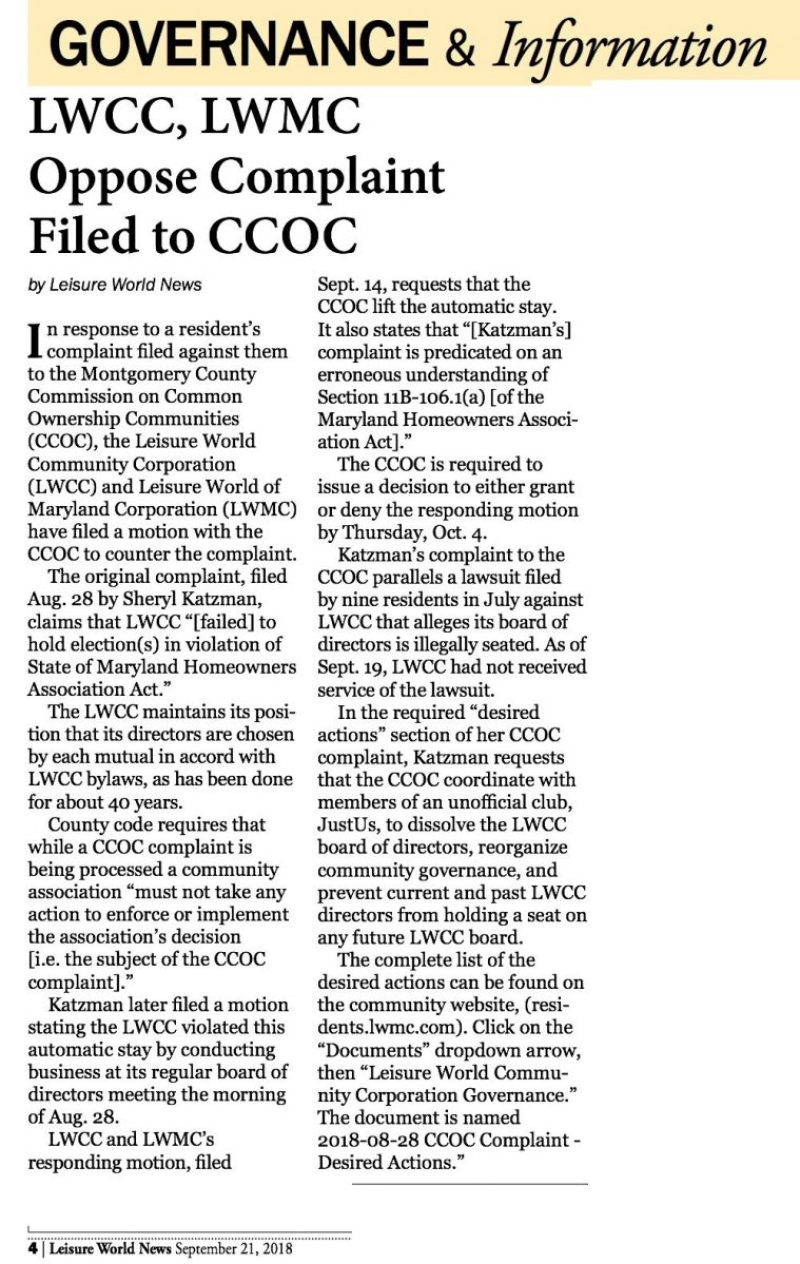 LWCC LWMC Oppose complaint filed to CCOC