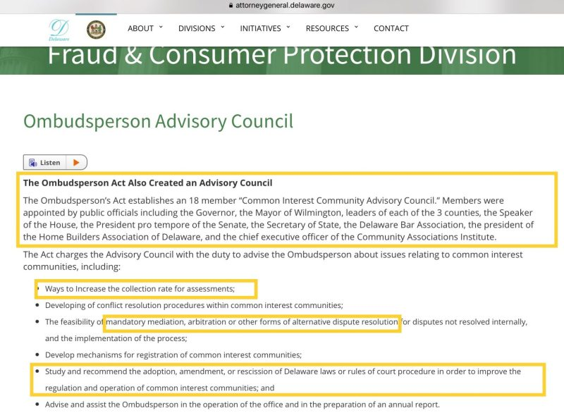 Delaware AG HOA common interest Ombud Advisory Council webpage