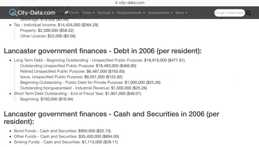Lancaster Ohio city government debt