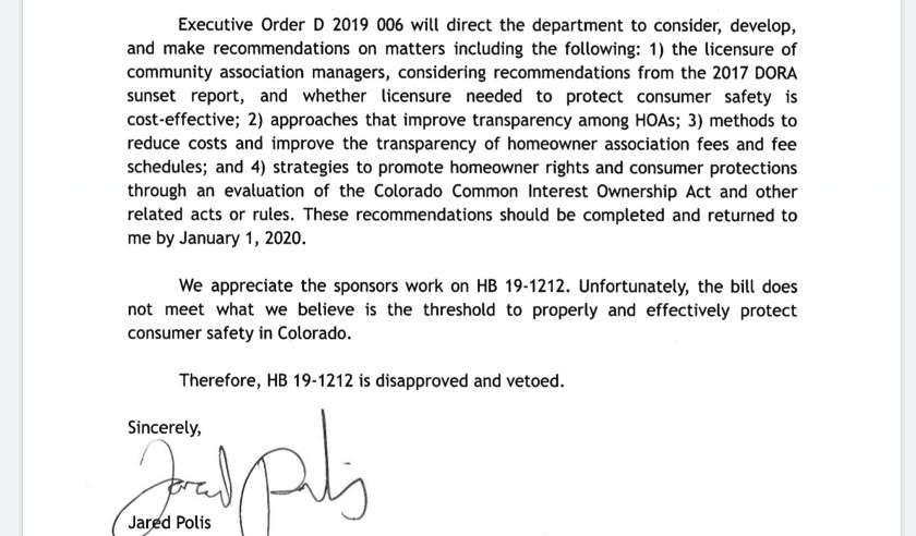 CO Gov Polis executive order HOA CAM licensure