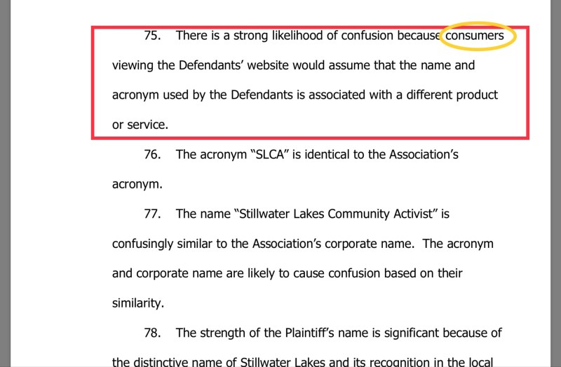 Stillwater Lakes Civic Association Federal Lawsuit excerpt