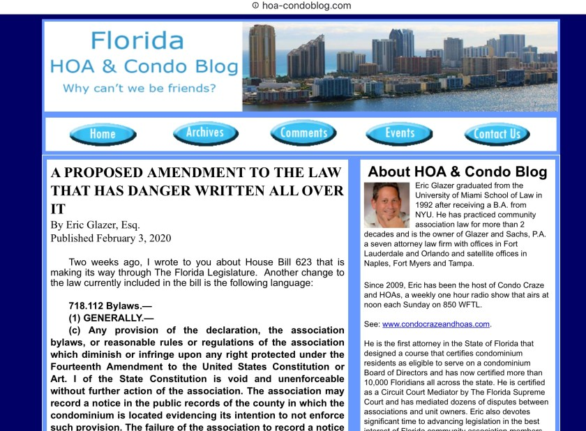Eric Glazer on FL HB 623 2020