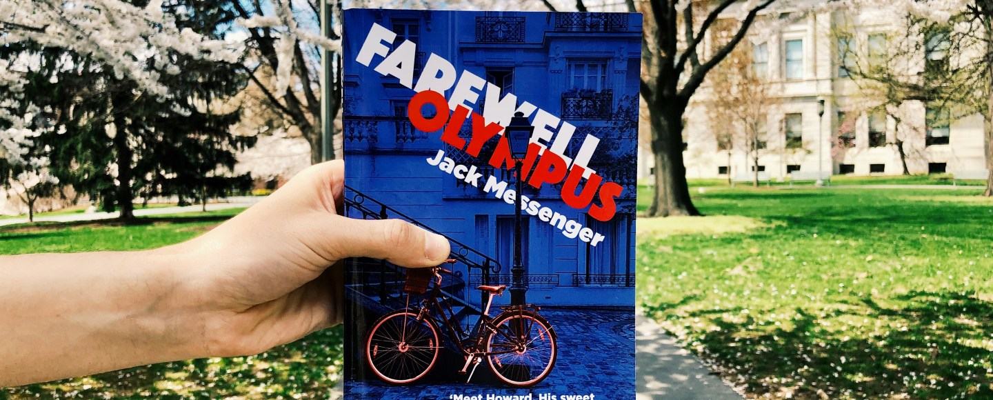 This is an original photograph from Independent Book Review of the paperback of Farewell Olympus by Jack Messenger