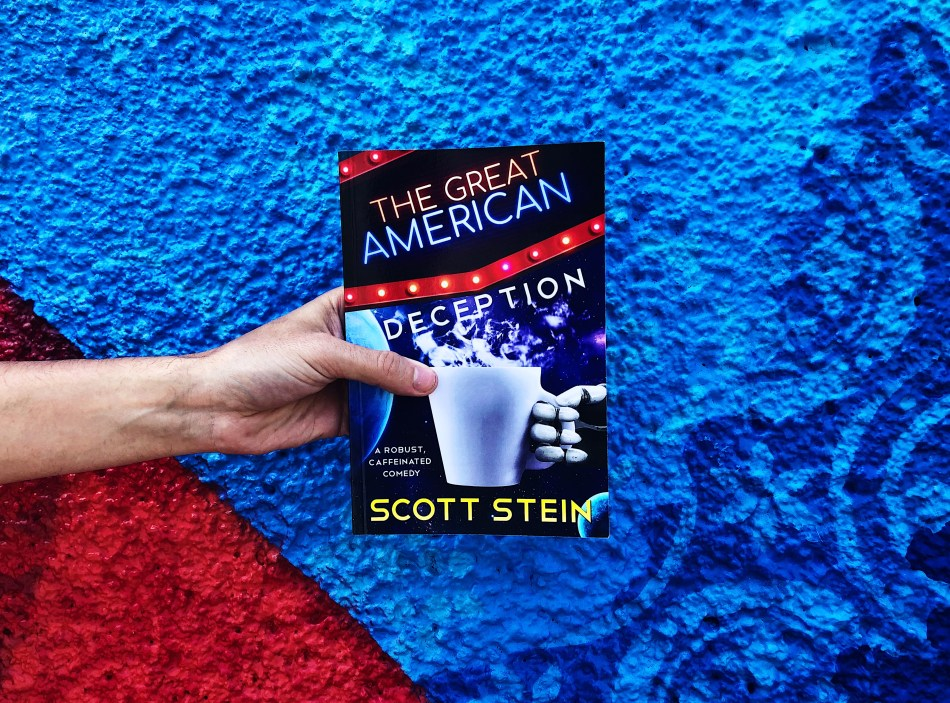 This is an independent book review original photo of the paperback copy of The Great American Deception by Scott Stein