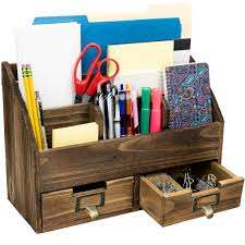 Amazon.com : Rustic Wood Office Desk Organizer: Includes 6 Compartments and  2 Drawers to Organize Desk Accessories, Mail, Pens, Notebooks, Folders,  Pencils and Office Supplies (Dark Brown) : Office Products