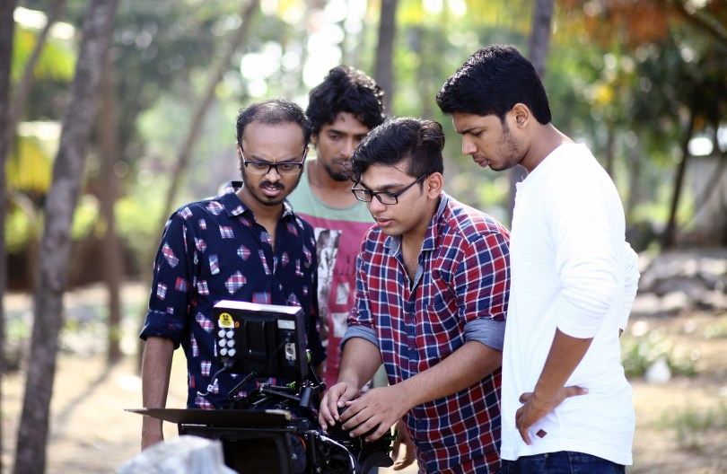 Vishnu Udayan with his crew on the set