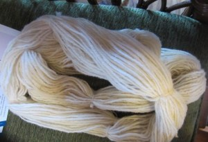 Retreat participant's three-ply Ryeland yarn