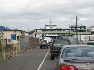 Cars boarding the ferry at Anacortes