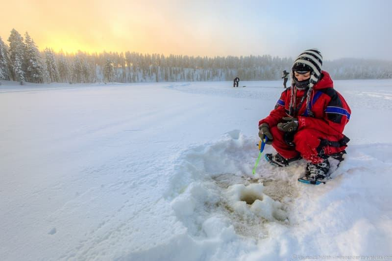 ice fishing visiting Finland in winter travel