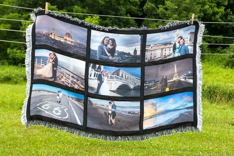 vacation photo blanket Travel Home Decor Handmade Travel Themed Home Decorations