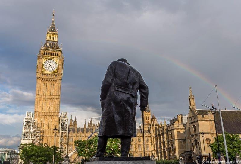 Churchill statue Parliament Square top Winston Churchill sites in England