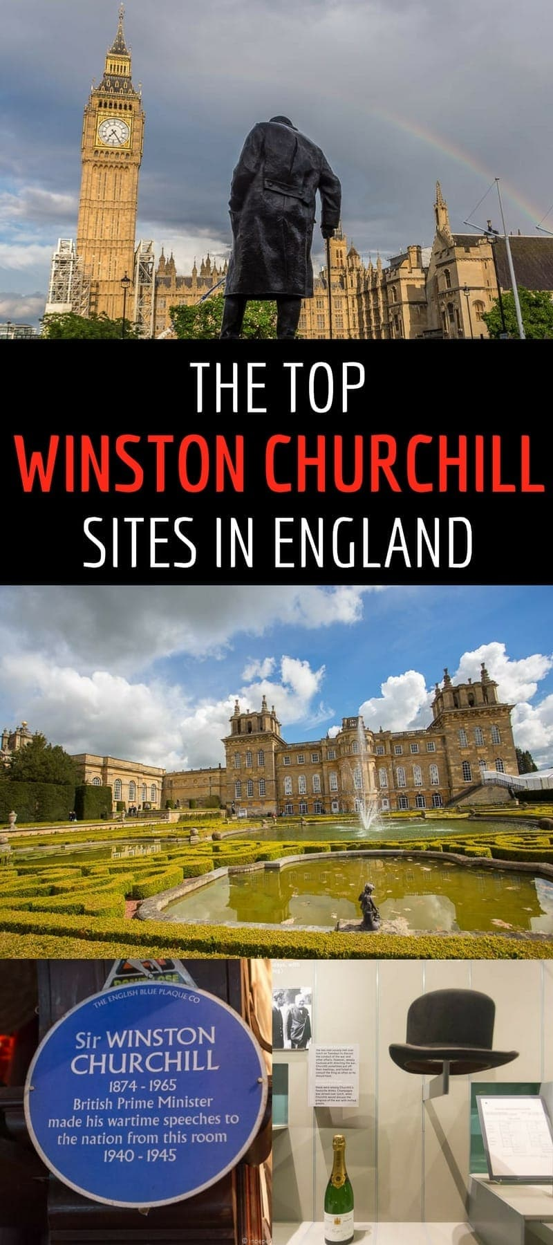 A guide to the top Winston Churchill sites in England, including Blenheim Palace, Chartwell, Bladon, St. Margaret's Church, and several other Churchill sites in London. Article explains the Winston Churchill connection and provides tips & travel advice for visiting each site.